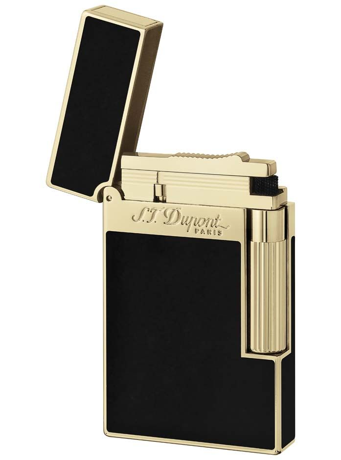 Isqueiro Dupont L2 BLACK LACQUER/YEL GOLD