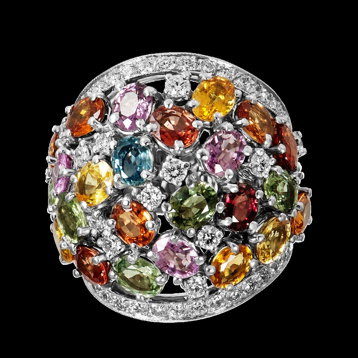anillo de diamantes y zafiro