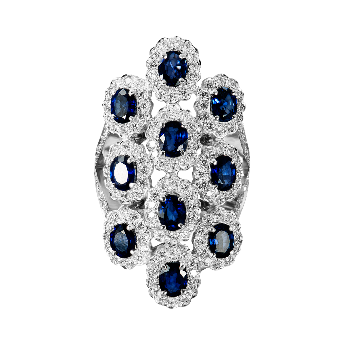 Anillo de zafiros y diamantes