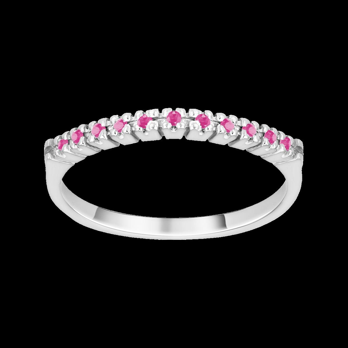 Anillo de zafiro rosa oro blanco