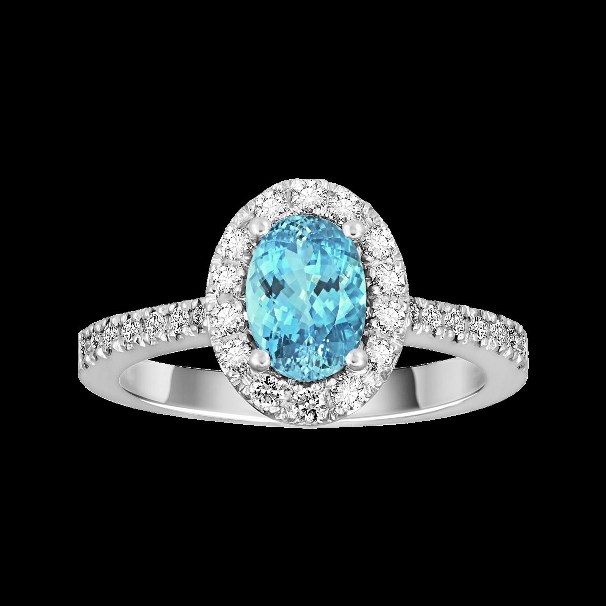 Anel de água-marinha e diamantes ouro branco