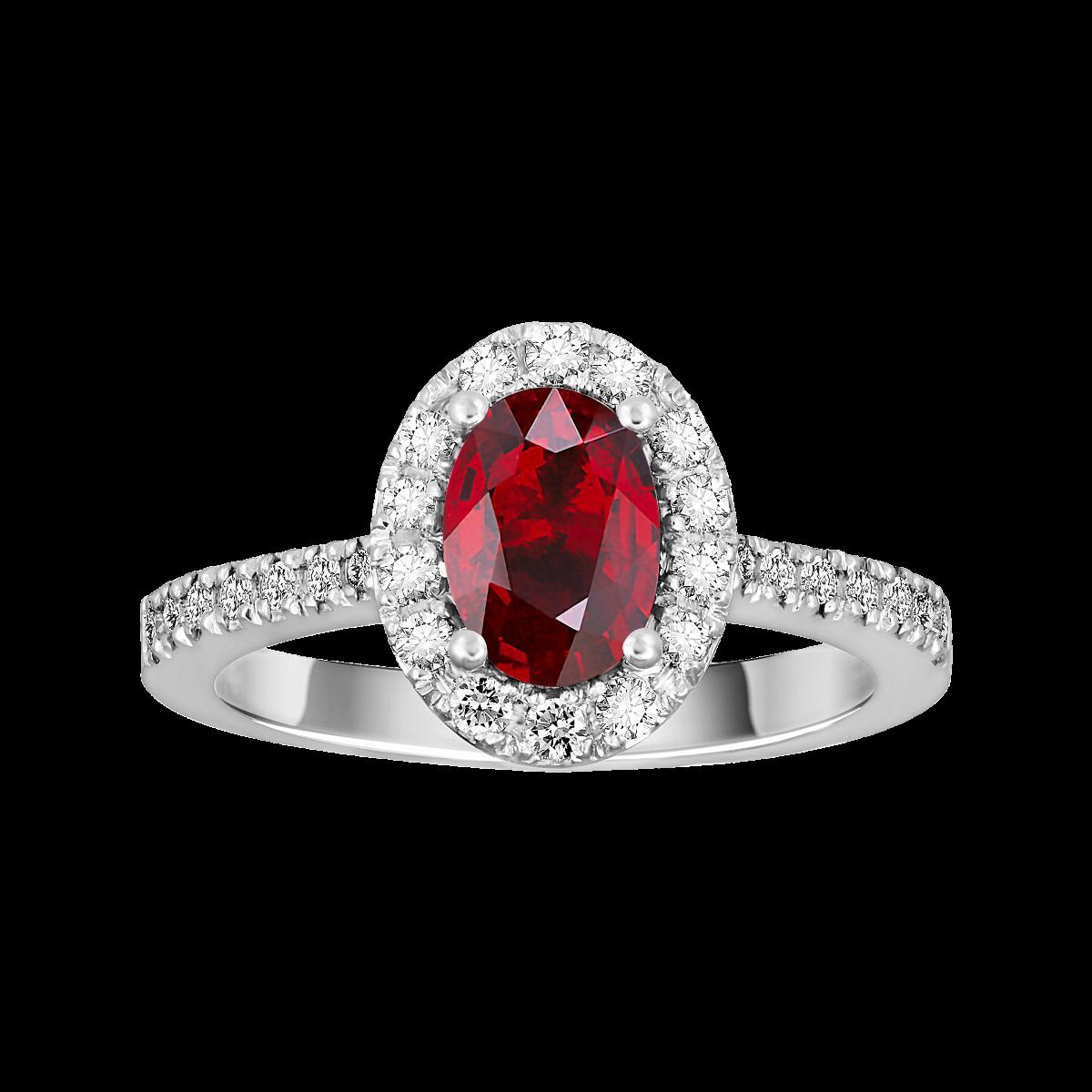 Anillo de rubí y diamantes oro blanco