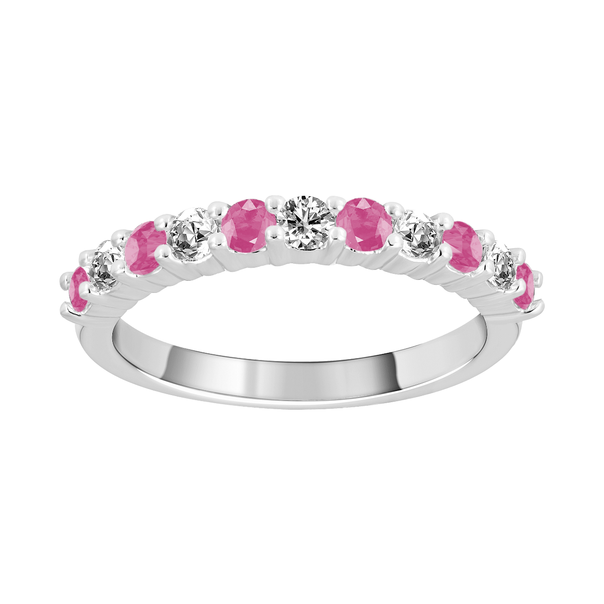 Anel de safira rosa e diamantes ouro branco