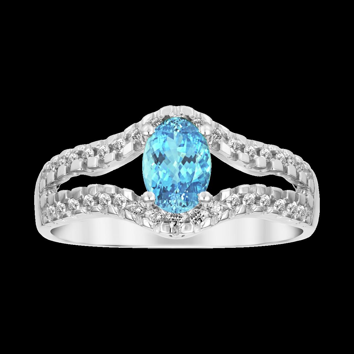 anillo de aguamarina y diamantes