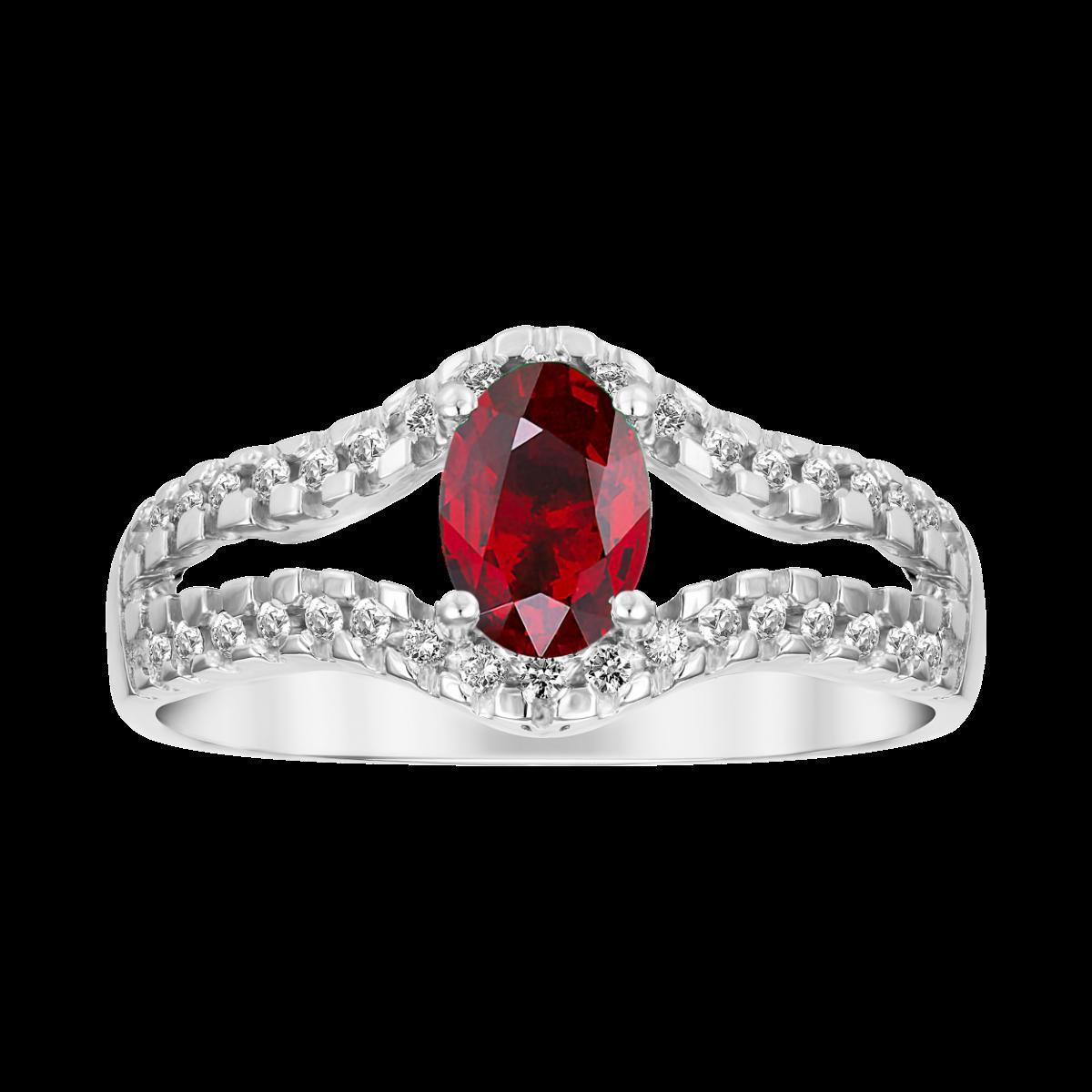 anillo de rubi y diamantes