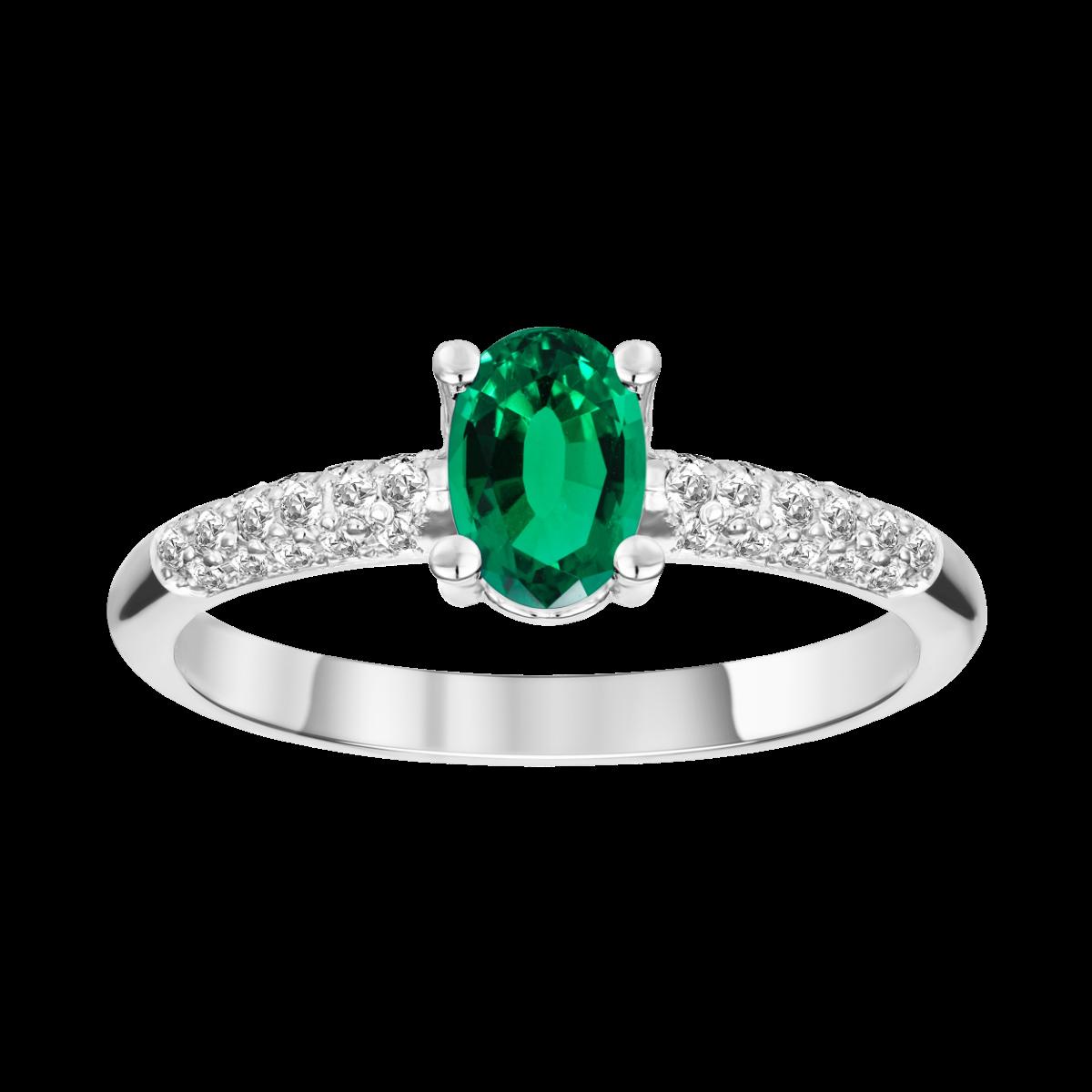 esmeralda e anel de diamante