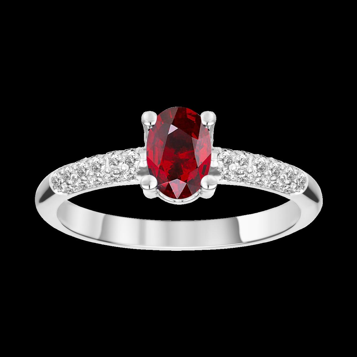 anillo de rubi  y diamantes en oro blanco