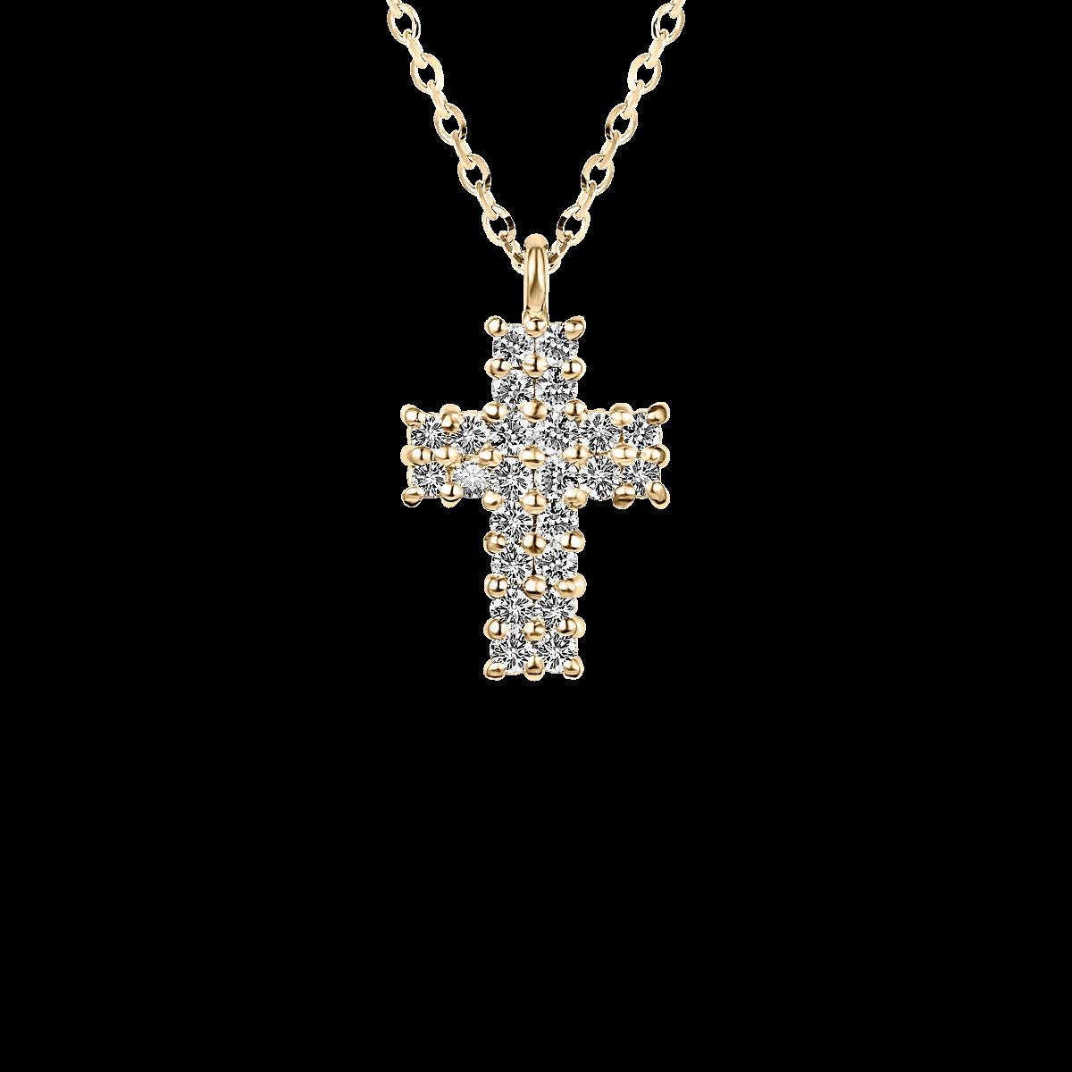 Cruz de diamantes ouro amarelo
