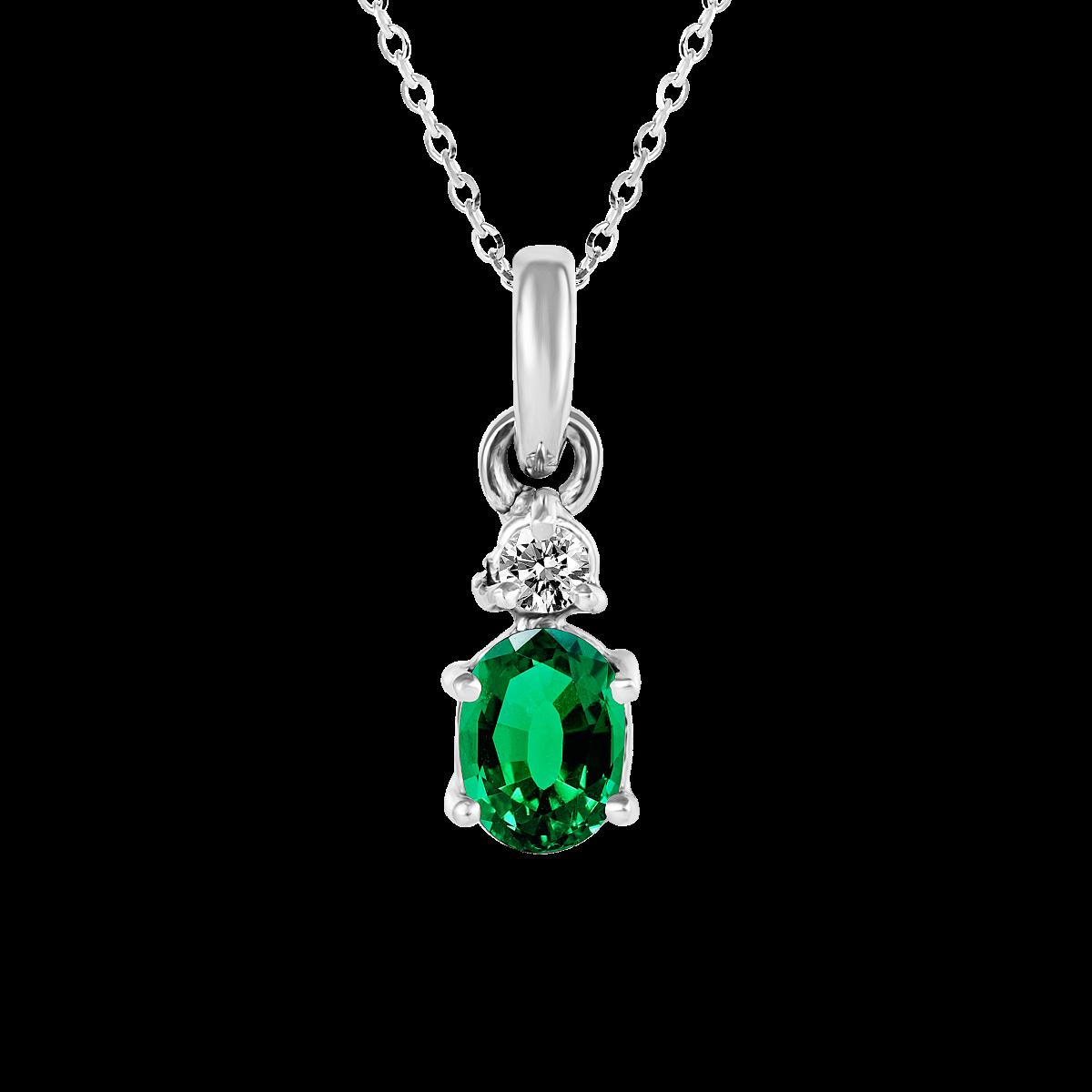 Pendente de esmeralda e diamantes ouro branco