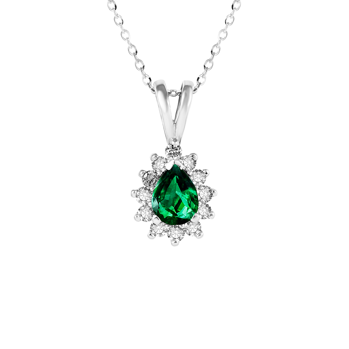 Pendente de esmeralda e diamantes