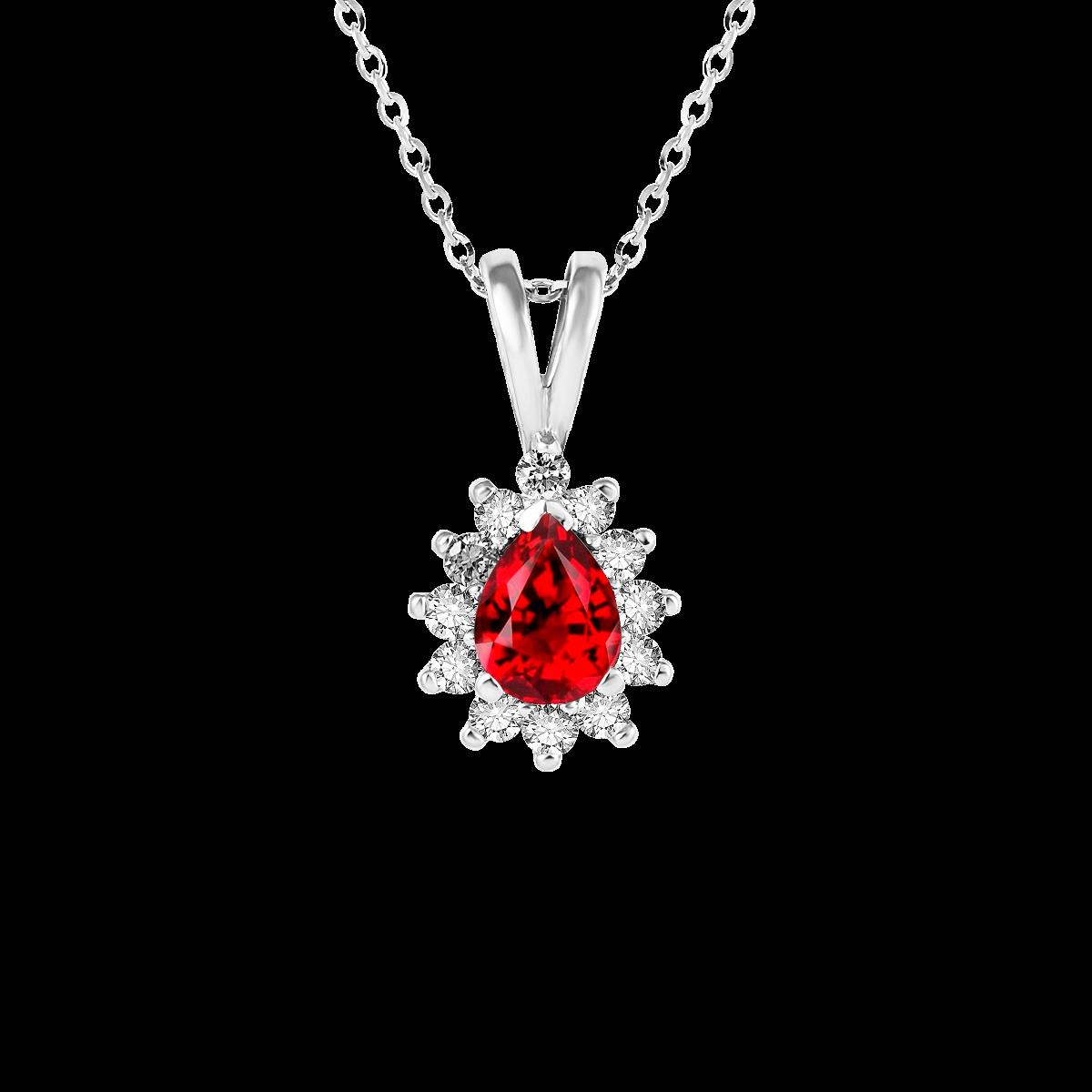 Colgante de rubí y diamantes oro blanco