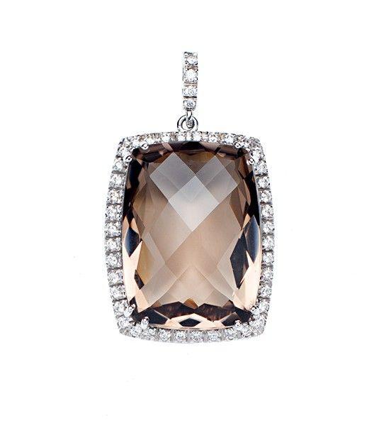 Pendente de quartzo fumee e diamante JUBA