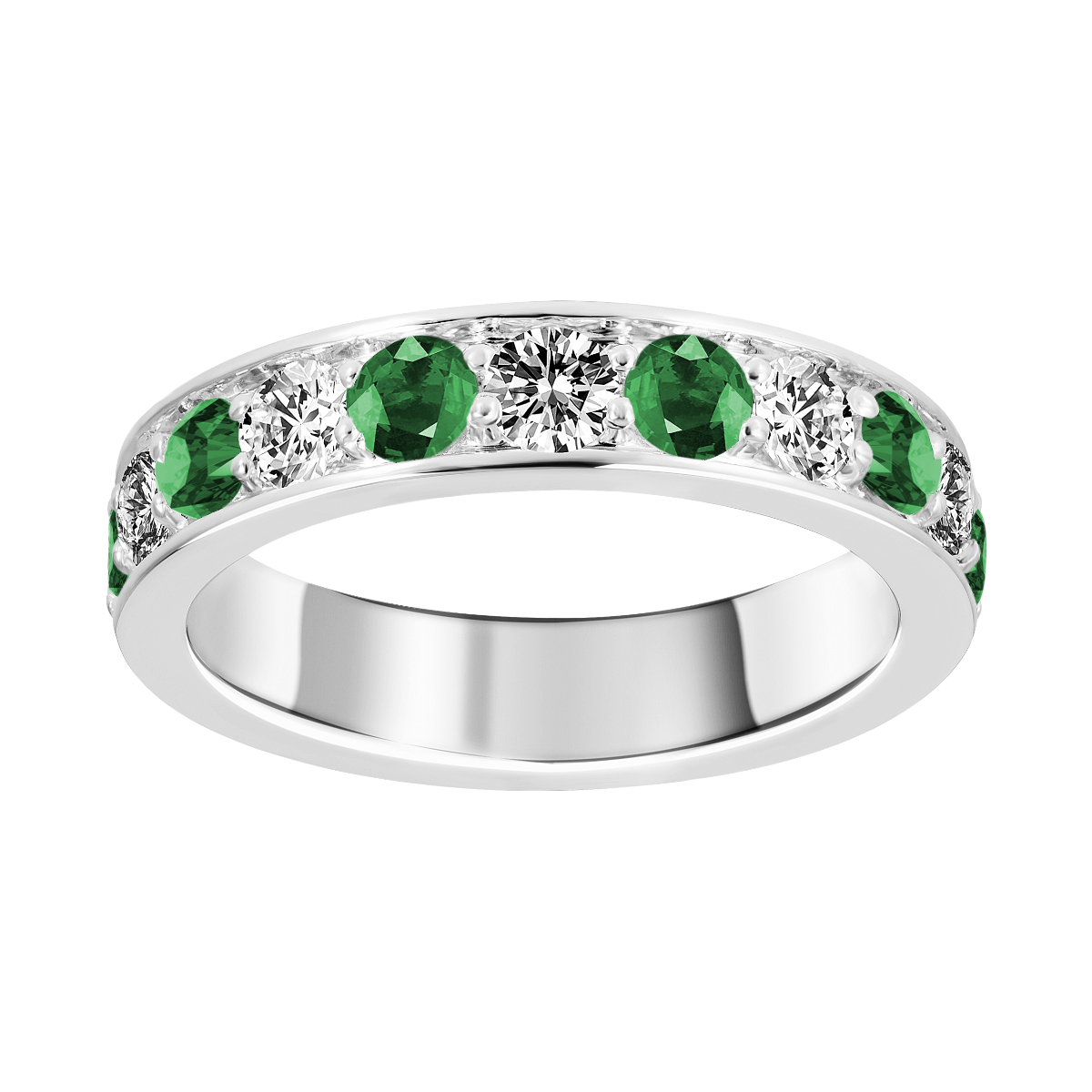 Anel de esmeralda e diamantes ouro branco