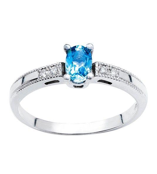 Anel de água-marinha e diamante EGEO