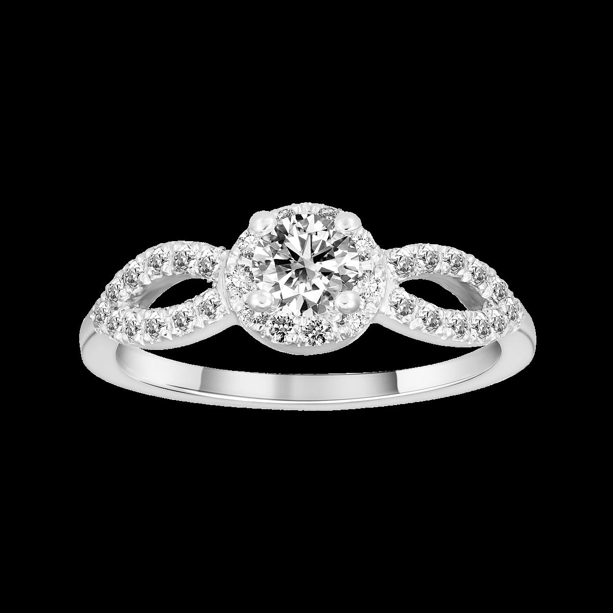 Solitário de diamantes em ouro branco