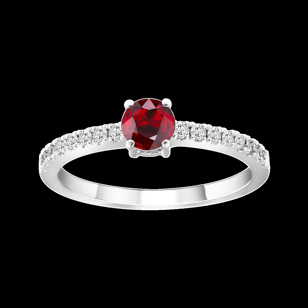 Solitario de rubí y diamantes