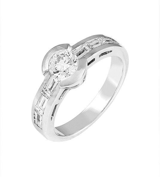 Anel de diamante ouro branco