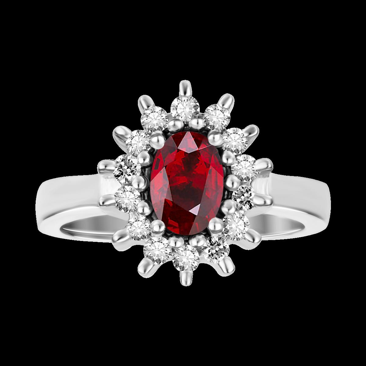 anillo rubi y  diamantes en oro blanco