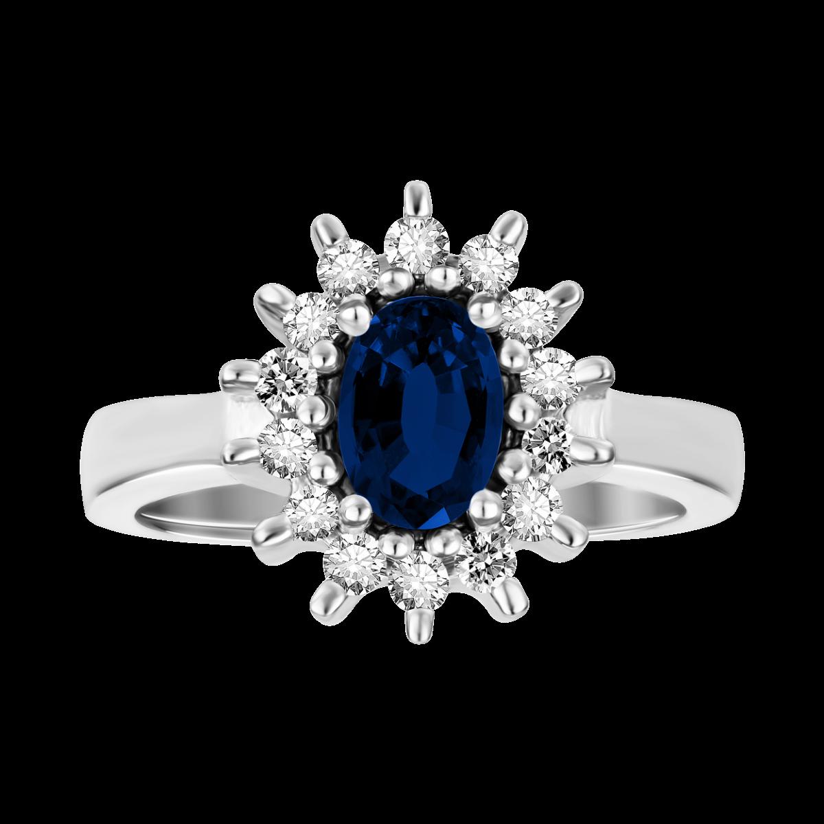anillo de zafiro y  diamantes