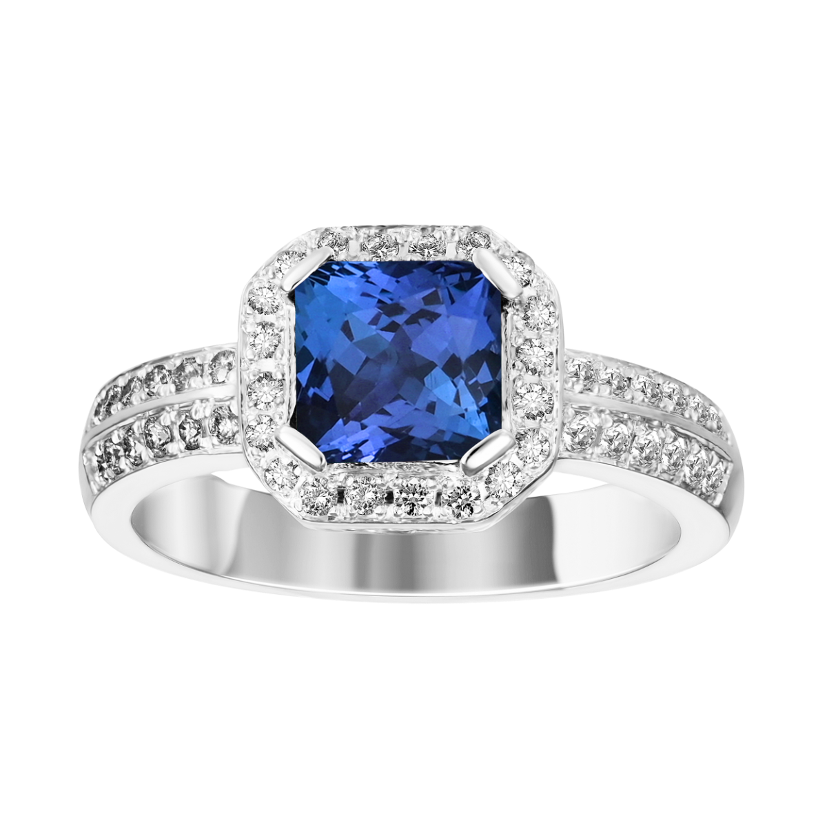 tanzanita e anel de diamante