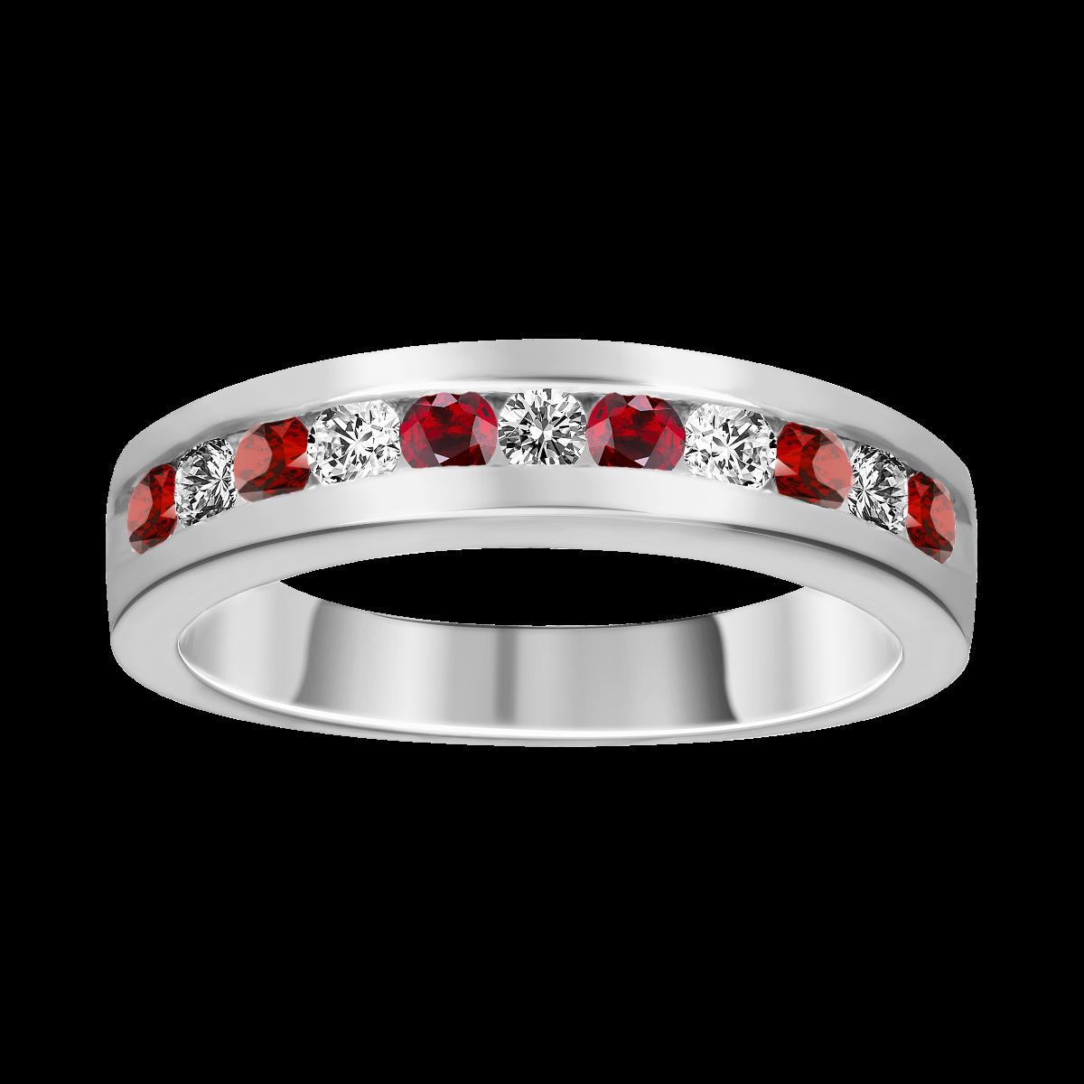 Anel de rubí e diamantes ouro branco