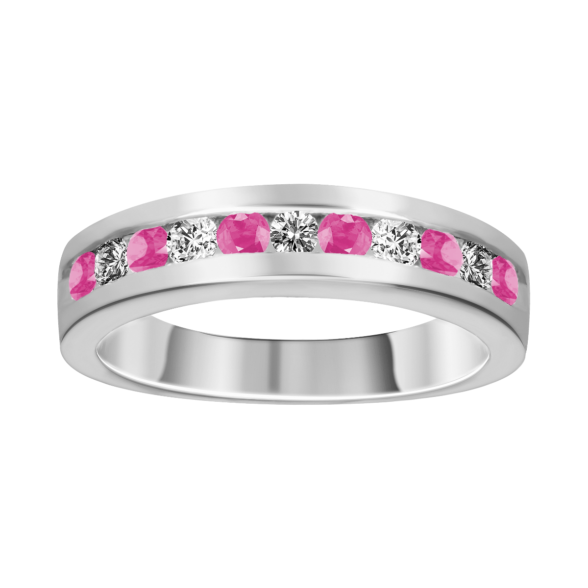 Anillo de zafiro rosa y diamantes oro blanco