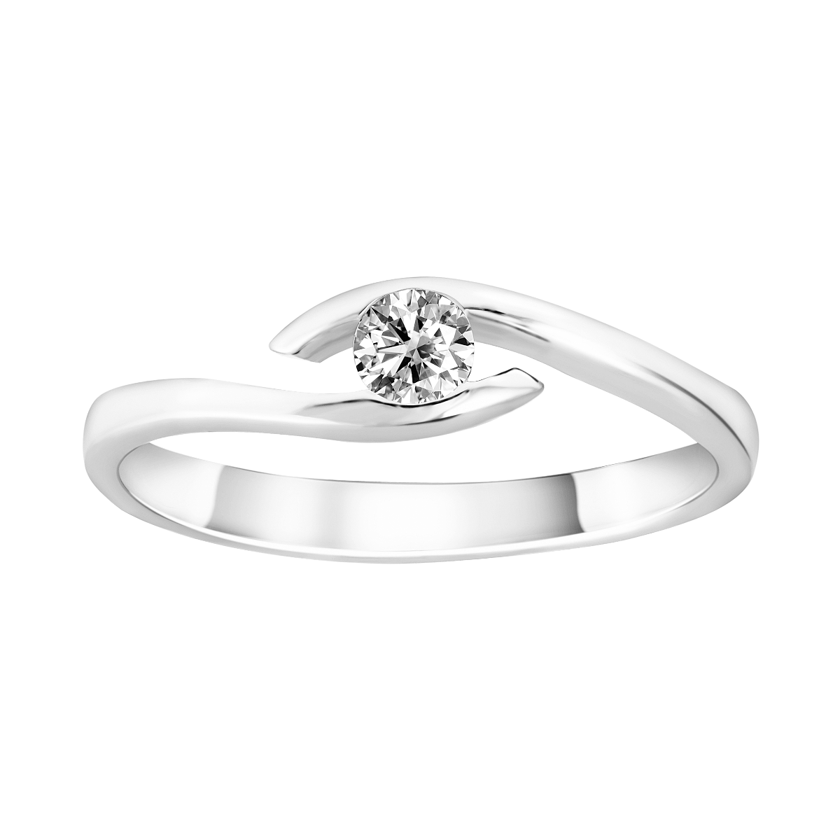 Solitario de diamantes en oro blanco