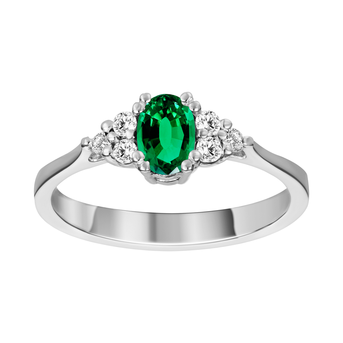 Anillo de esmeralda y diamantes oro blanco