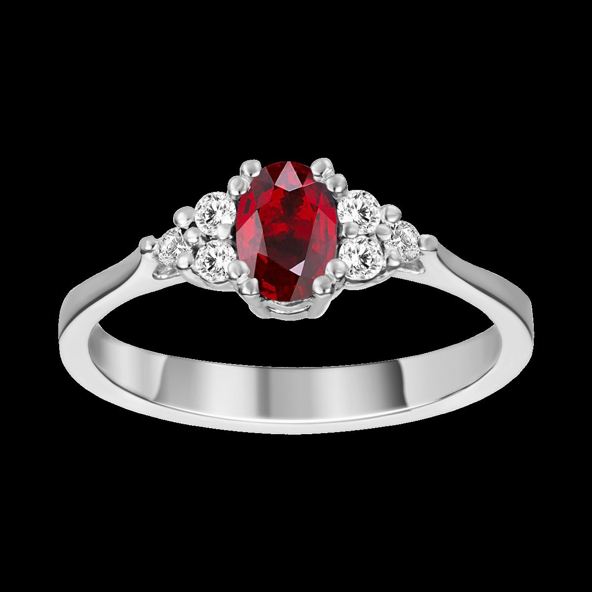 Anillo de rubí y diamantes
