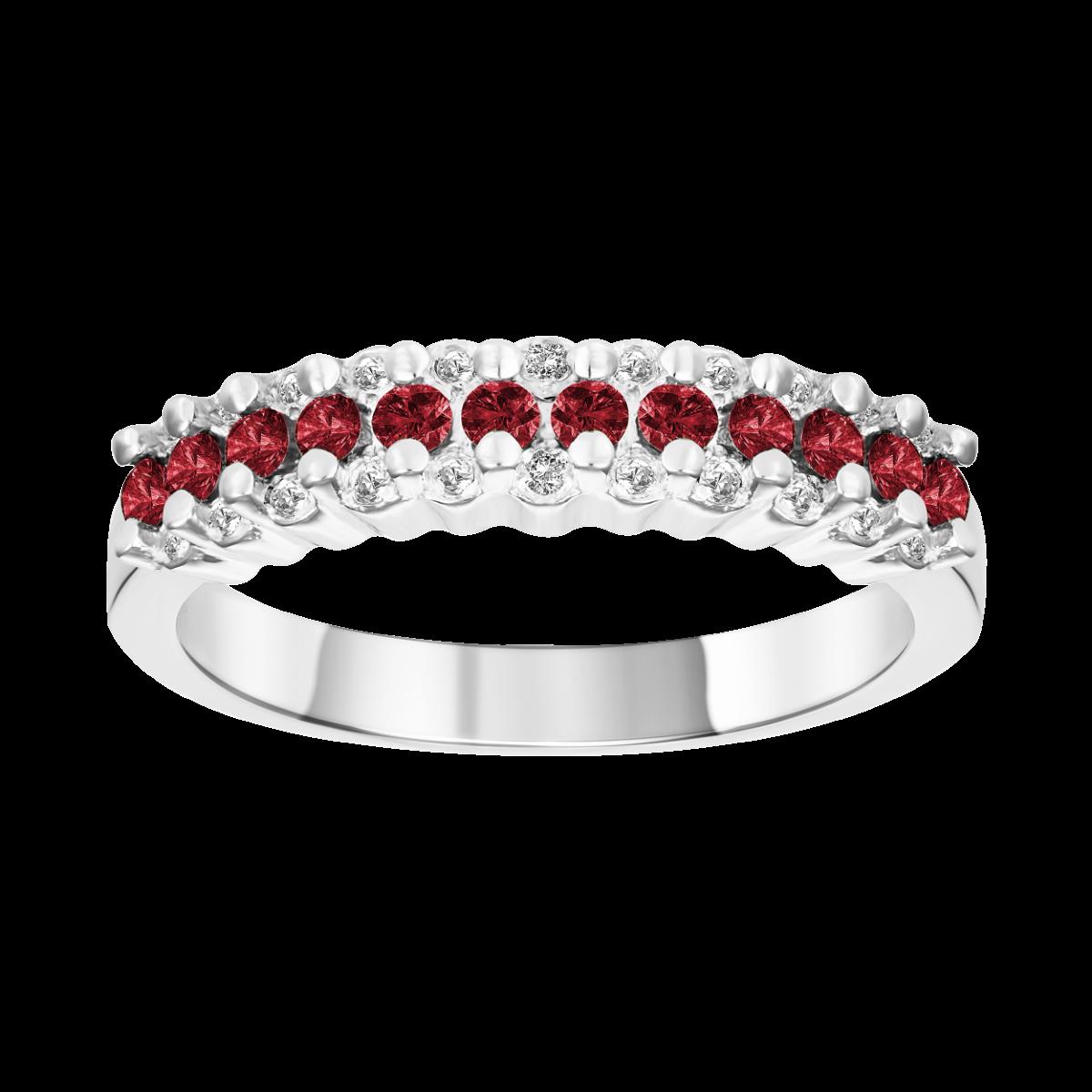 diamante e anel de rubi