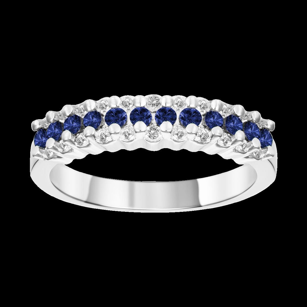 anillo de zafiro y diamantes   oro blanco