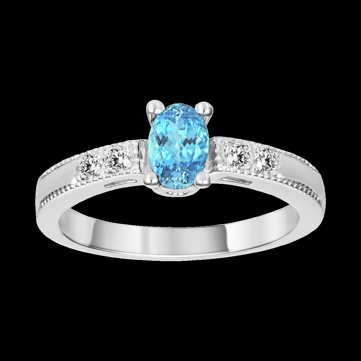 anillo de aguamarina y diamantes en oro blanco
