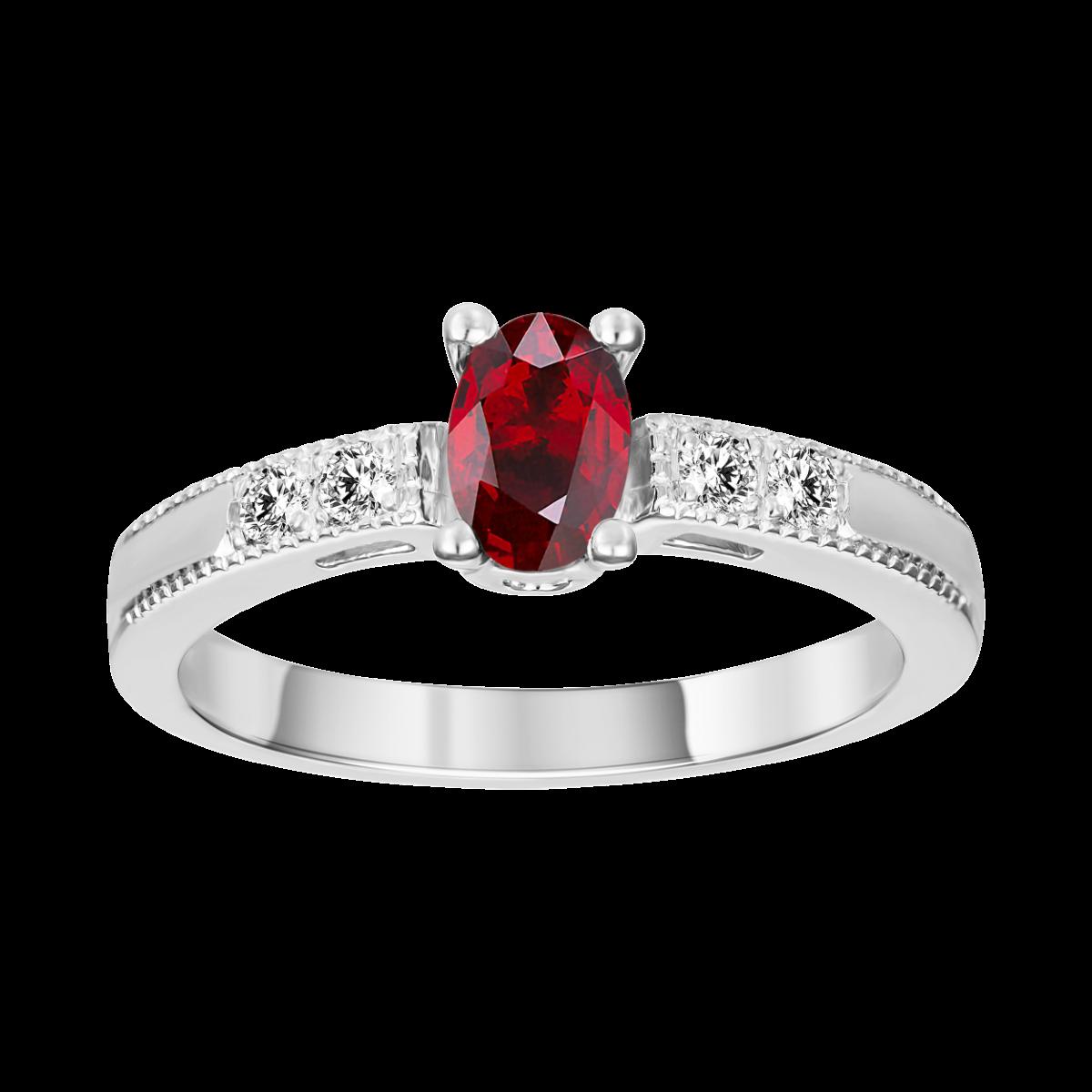 rubi e anel de diamante