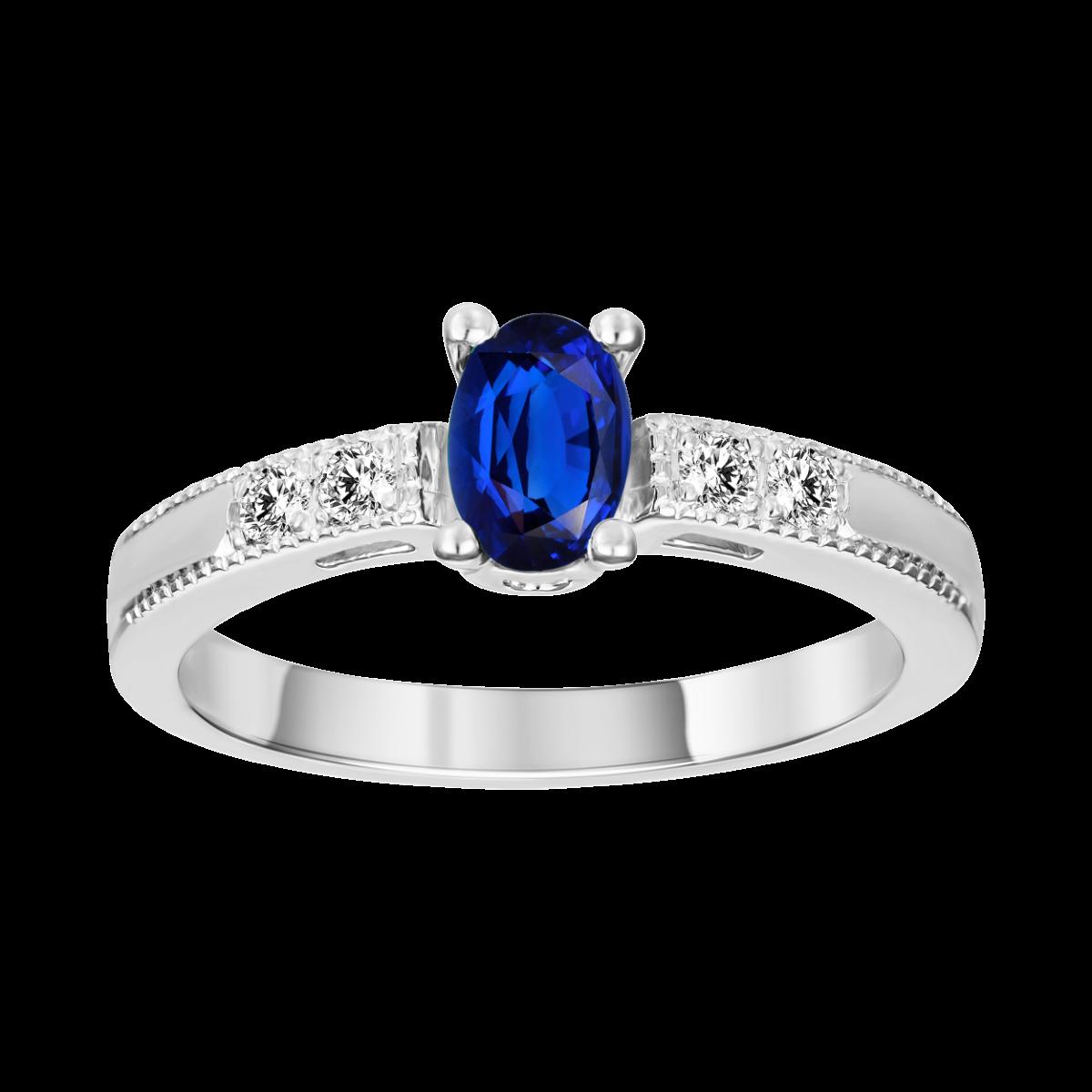 safira e anel de diamante en ouro branco