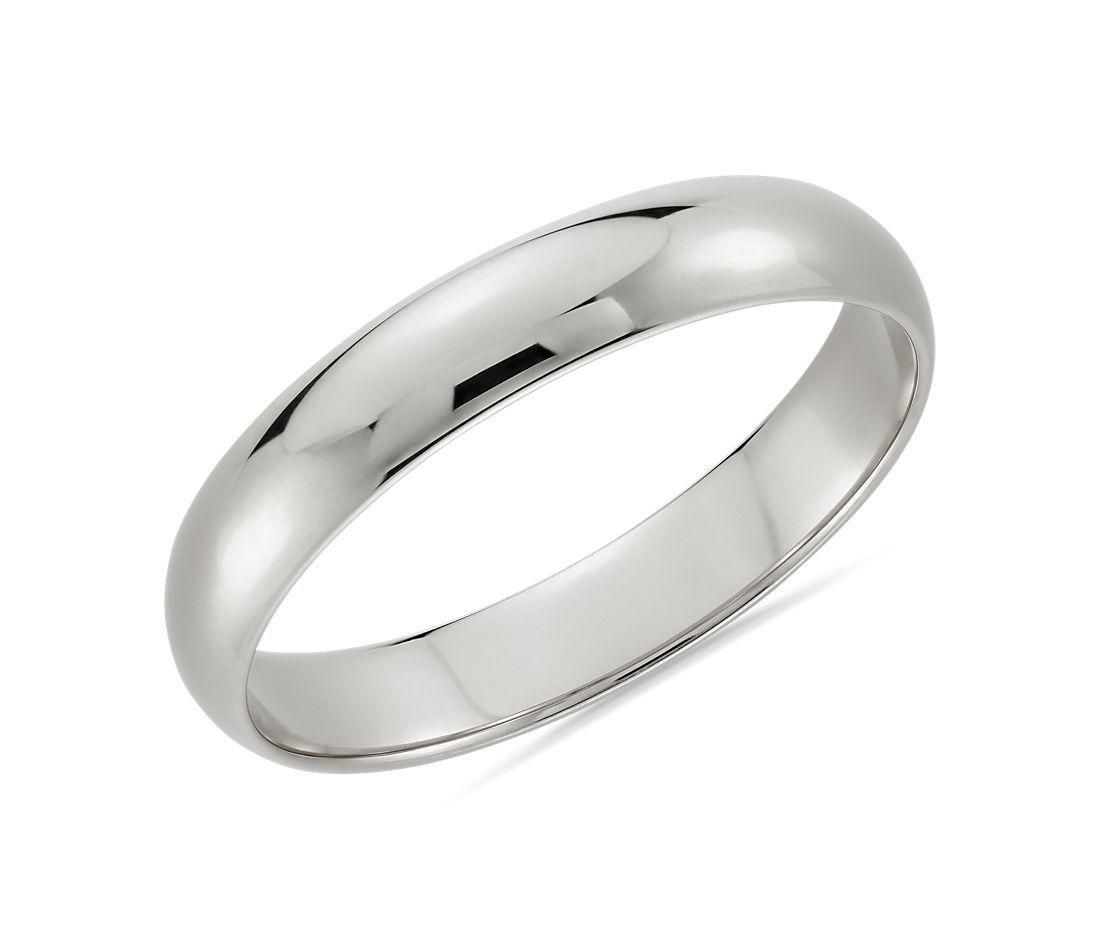 Alianza de boda media caña en oro blanco