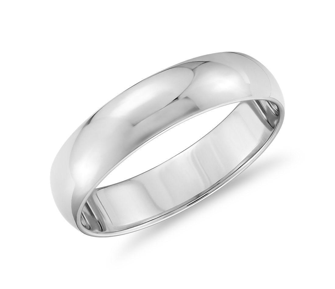 Aliança de casamento media canha em ouro branco