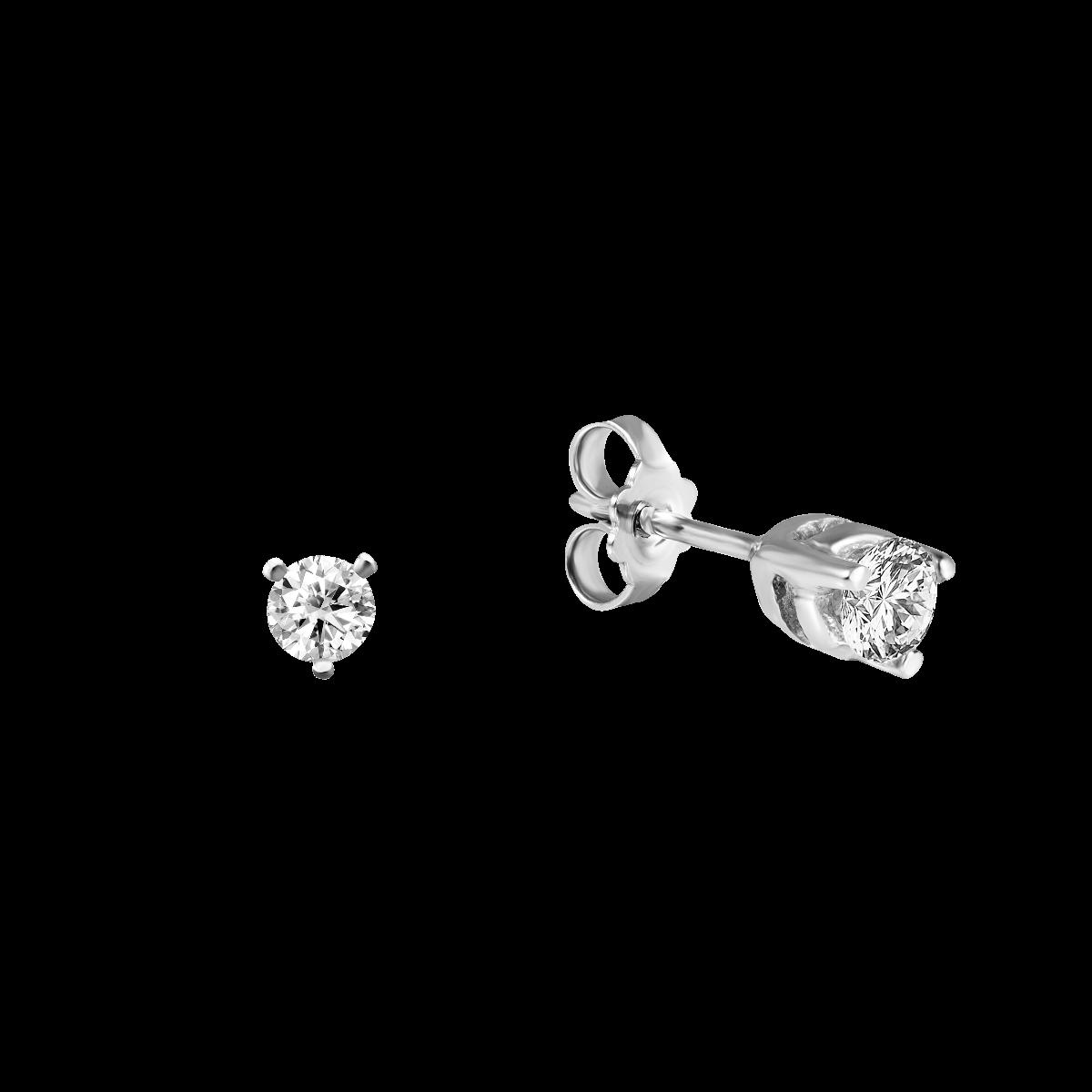 Brincos de diamantes curtos em ouro branco