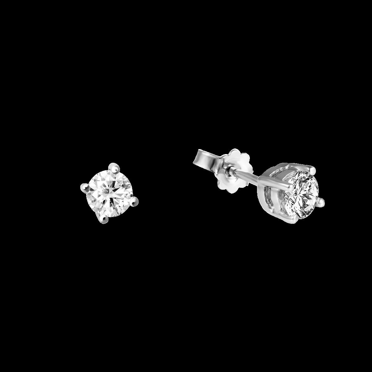 Brincos de diamantes curto em ouro branco