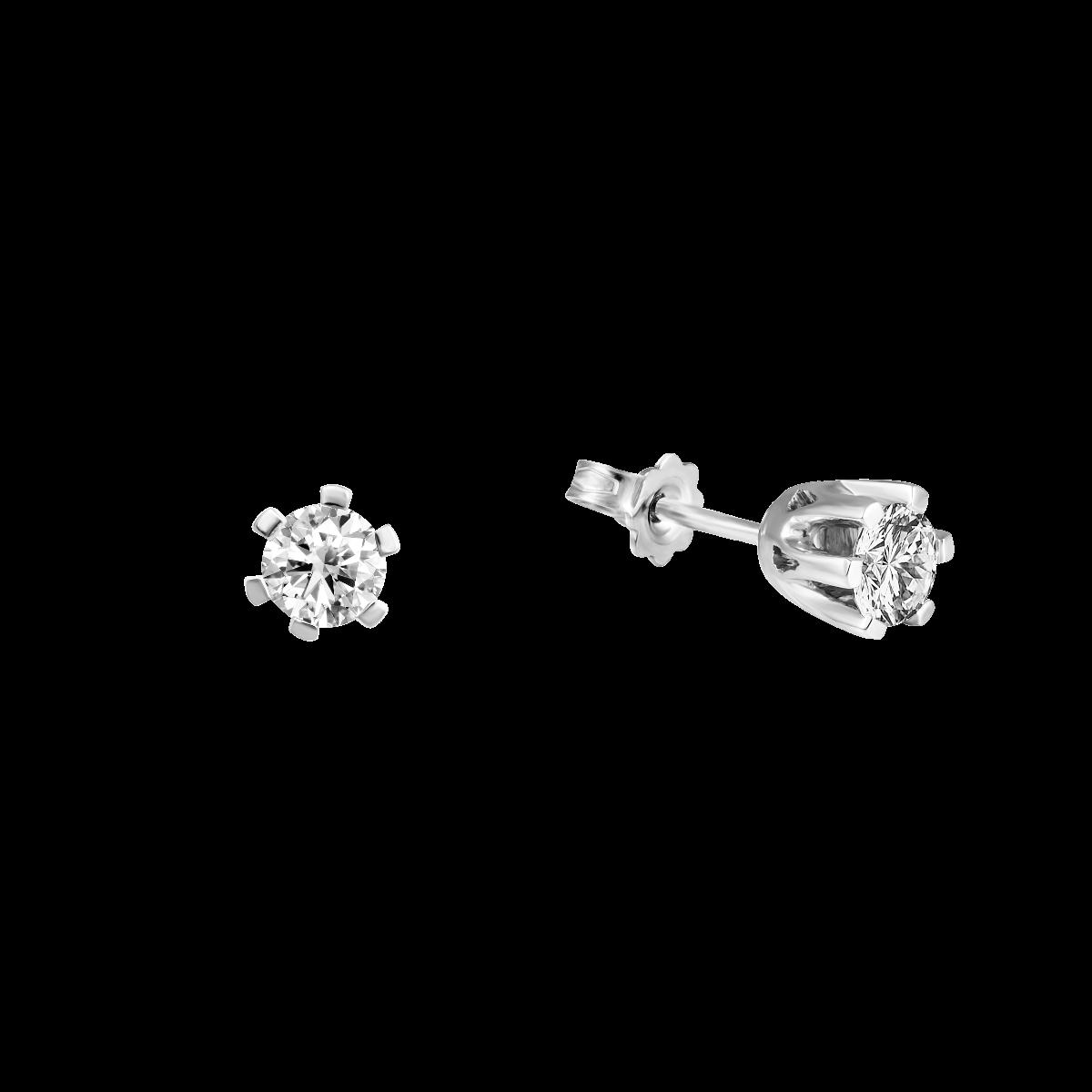 Pendientes de diamantes cortos en oro blanco