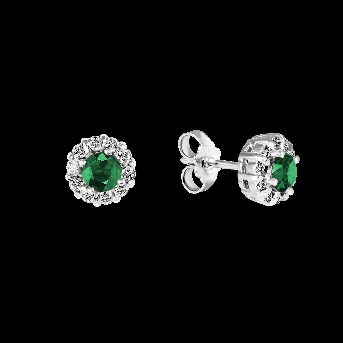 Brincos de esmeralda e diamantes ouro branco