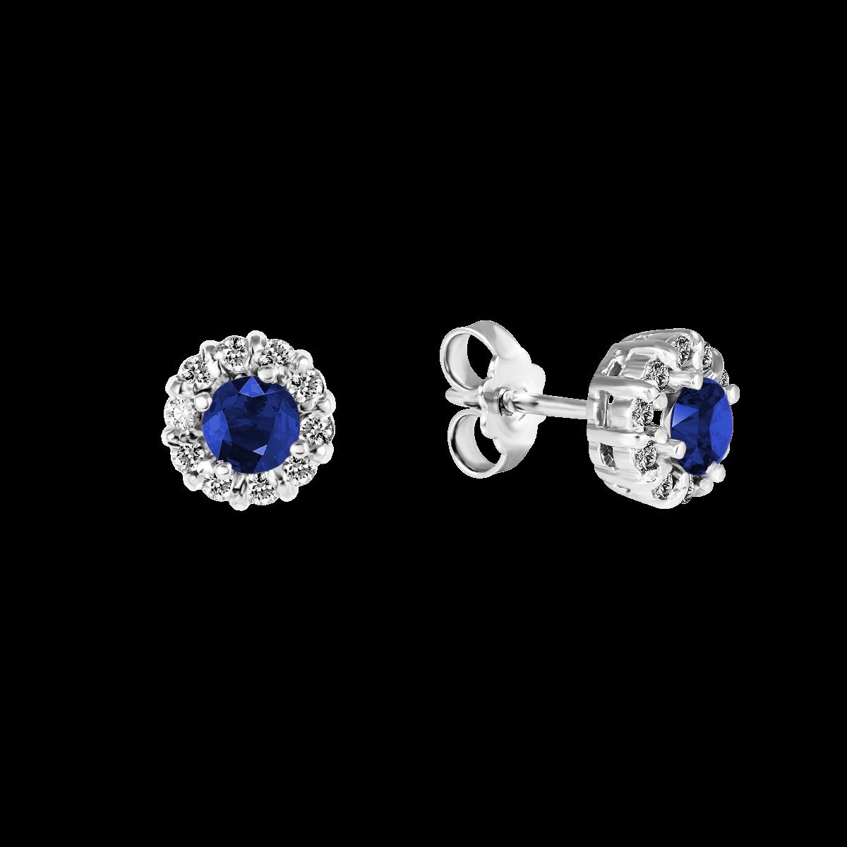 Pendientes de zafiro y diamantes oro blanco