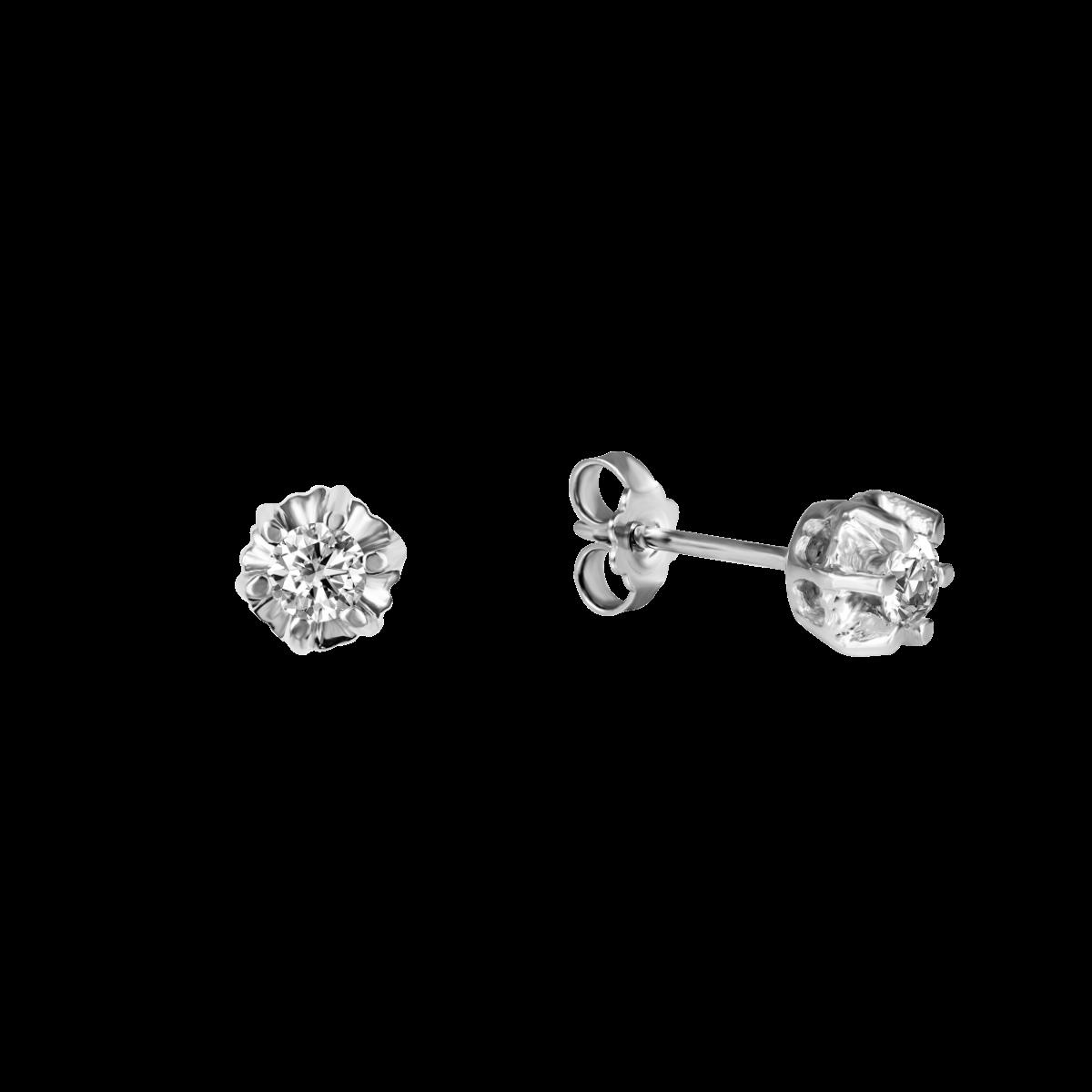 Brincos de diamantes en ouro branco