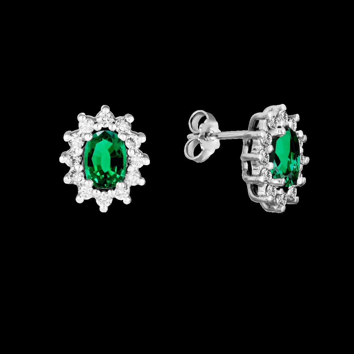 Pendientes de esmeralda y diamantes