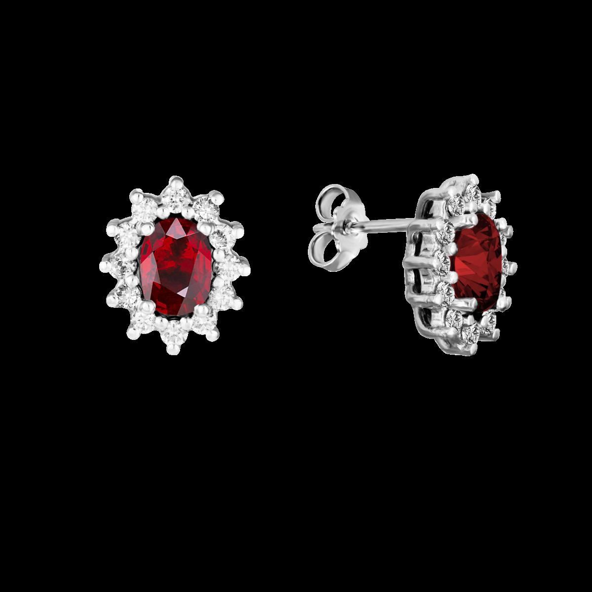 Brincos de rubí e diamantes ouro branco