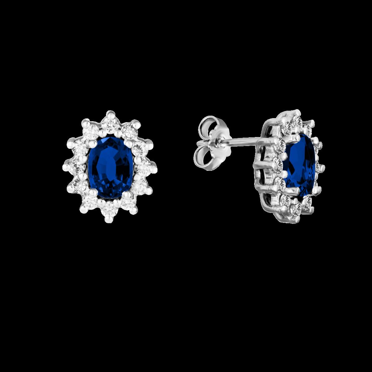 Pendientes de zafiro y diamantes