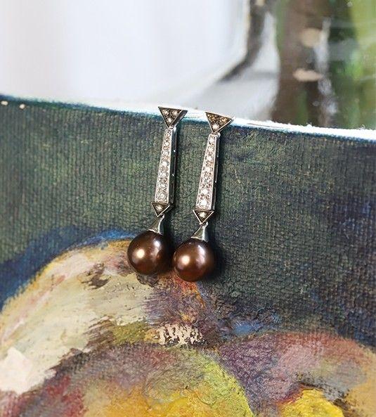 Pendientes de perlas y diamantes ARIEL