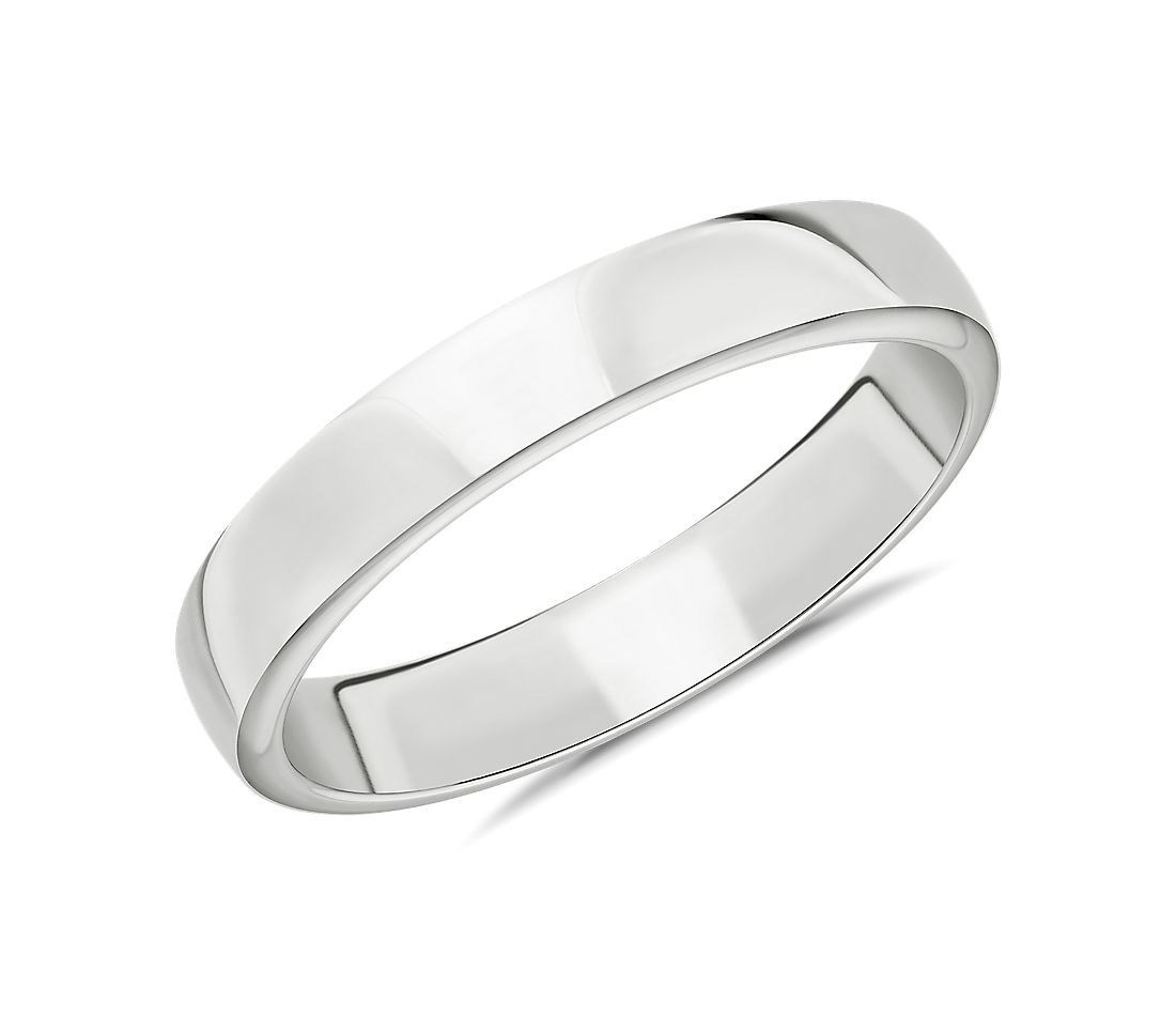 Alianza de boda plana en oro blanco