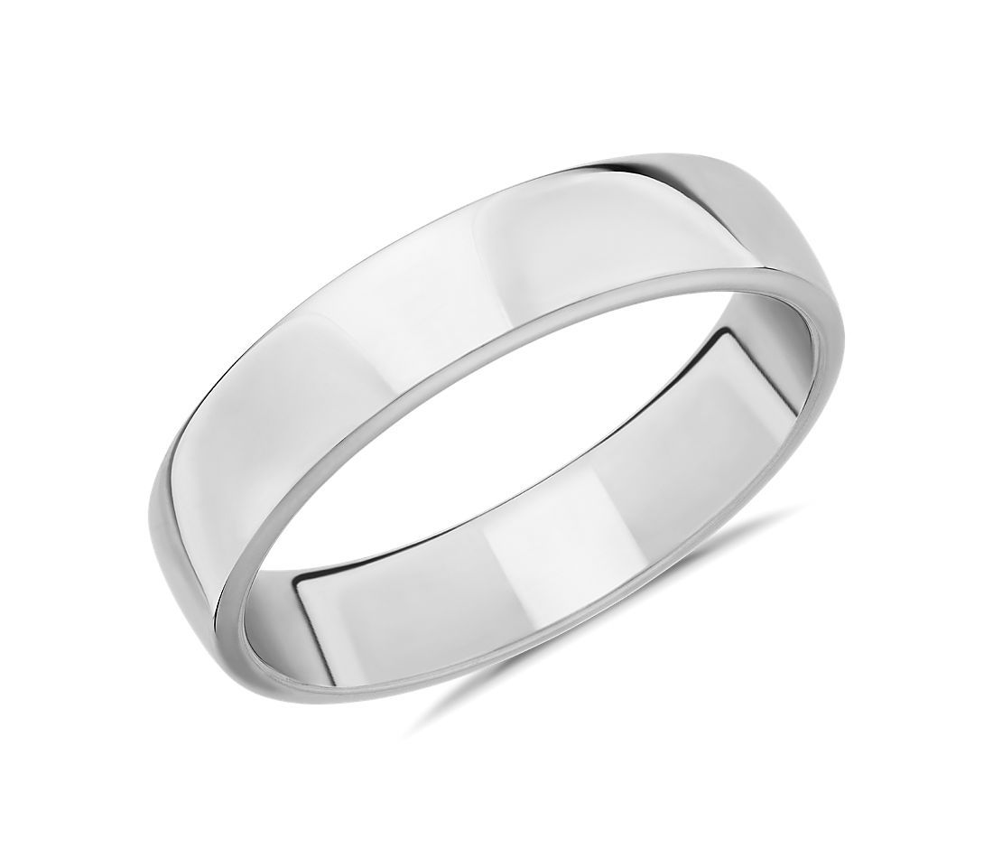 aliança de casamento plana em ouro branco